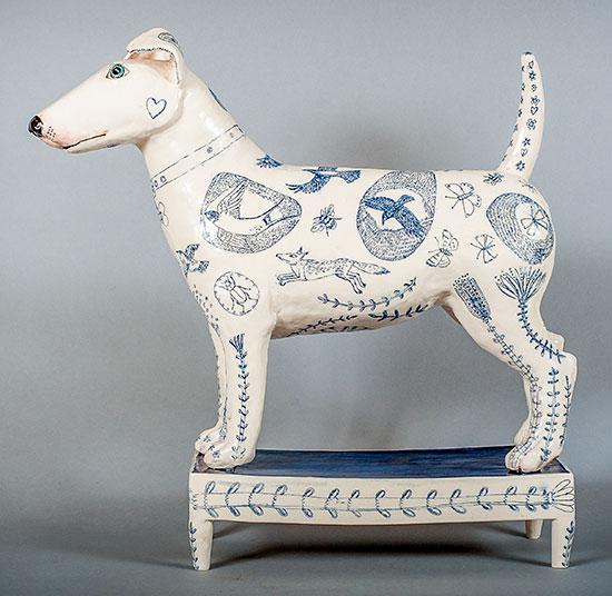 Ceramic dog by G Warne